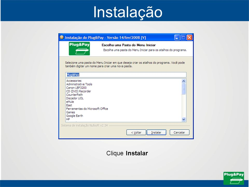 Instalação Clique Instalar