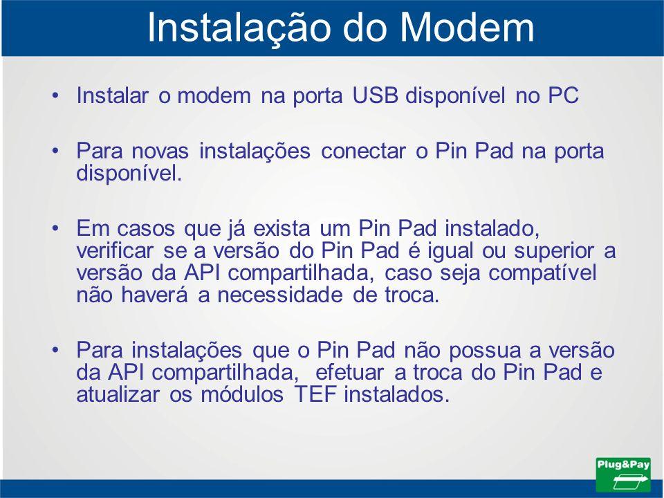 Instalação do Modem Instalar o modem na porta USB disponível no PC