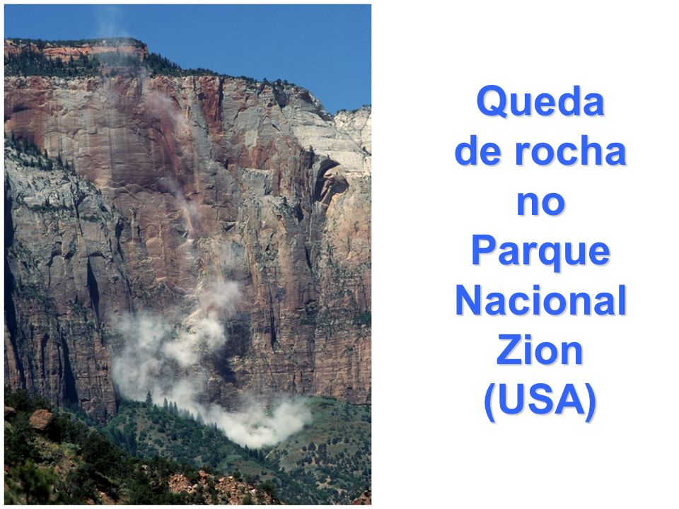 Queda de rocha no Parque Nacional Zion (USA)