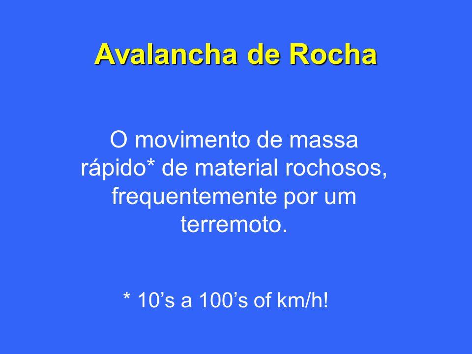 Avalancha de Rocha O movimento de massa rápido* de material rochosos, frequentemente por um terremoto.