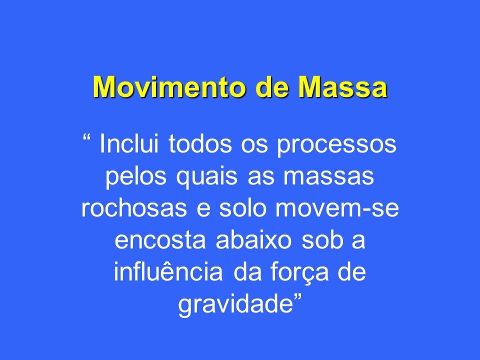 Movimento de Massa Inclui todos os processos pelos quais as massas rochosas e solo movem-se encosta abaixo sob a influência da força de gravidade