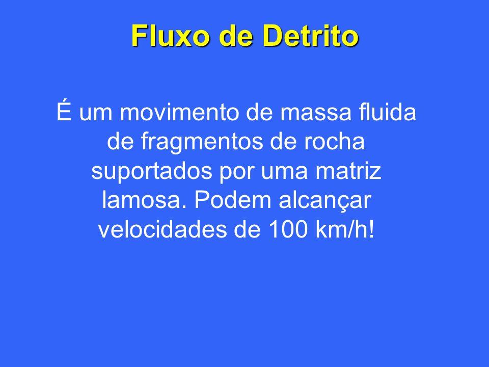 Fluxo de Detrito É um movimento de massa fluida de fragmentos de rocha suportados por uma matriz lamosa.