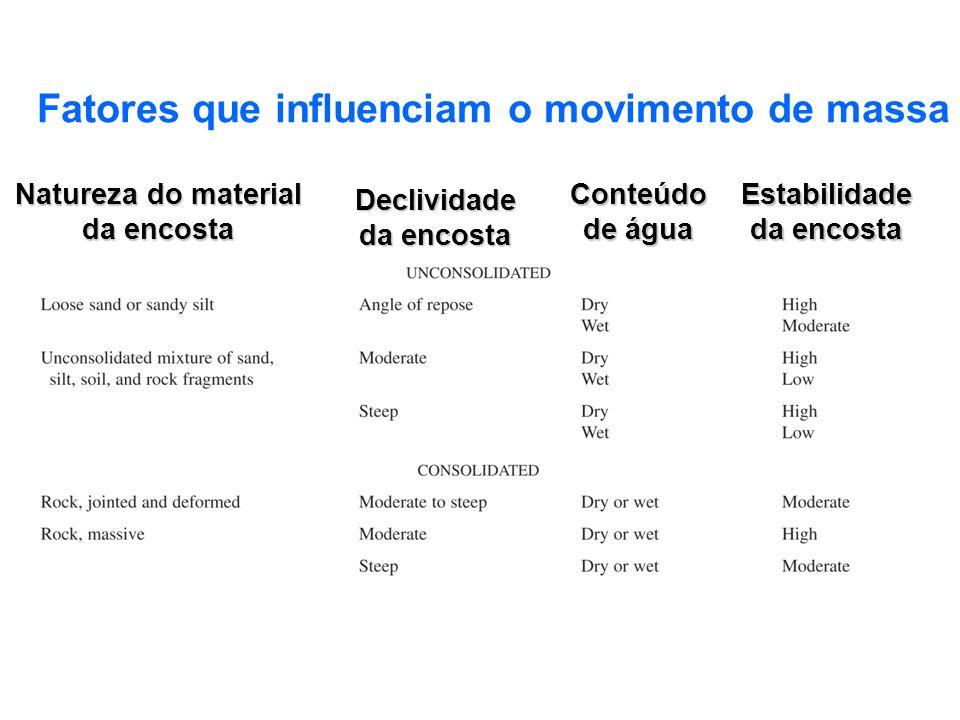 Fatores que influenciam o movimento de massa