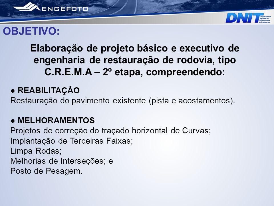 OBJETIVO: Elaboração de projeto básico e executivo de engenharia de restauração de rodovia, tipo C.R.E.M.A – 2º etapa, compreendendo: