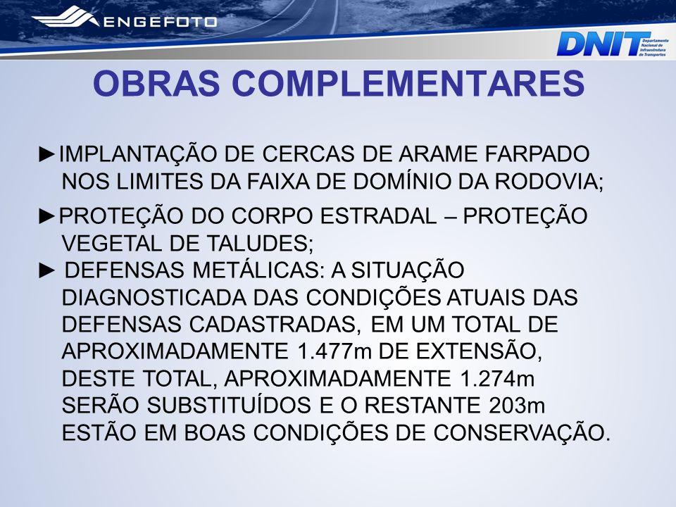 OBRAS COMPLEMENTARES ►IMPLANTAÇÃO DE CERCAS DE ARAME FARPADO NOS LIMITES DA FAIXA DE DOMÍNIO DA RODOVIA;