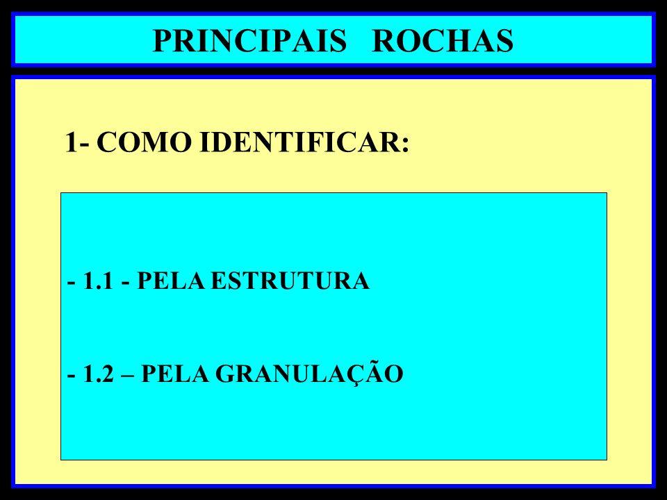 PRINCIPAIS ROCHAS 1- COMO IDENTIFICAR: - 1.1 - PELA ESTRUTURA