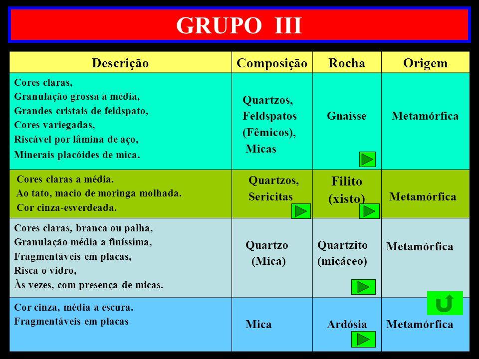 GRUPO III Descrição Composição Rocha Origem Filito (xisto) Quartzos,