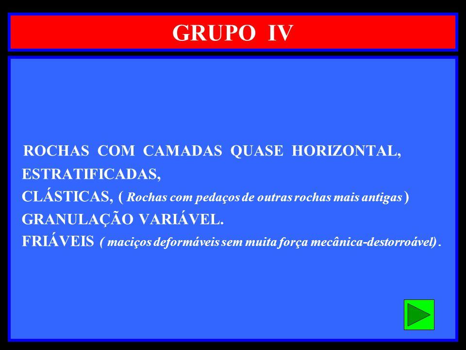 GRUPO IV ROCHAS COM CAMADAS QUASE HORIZONTAL, ESTRATIFICADAS,