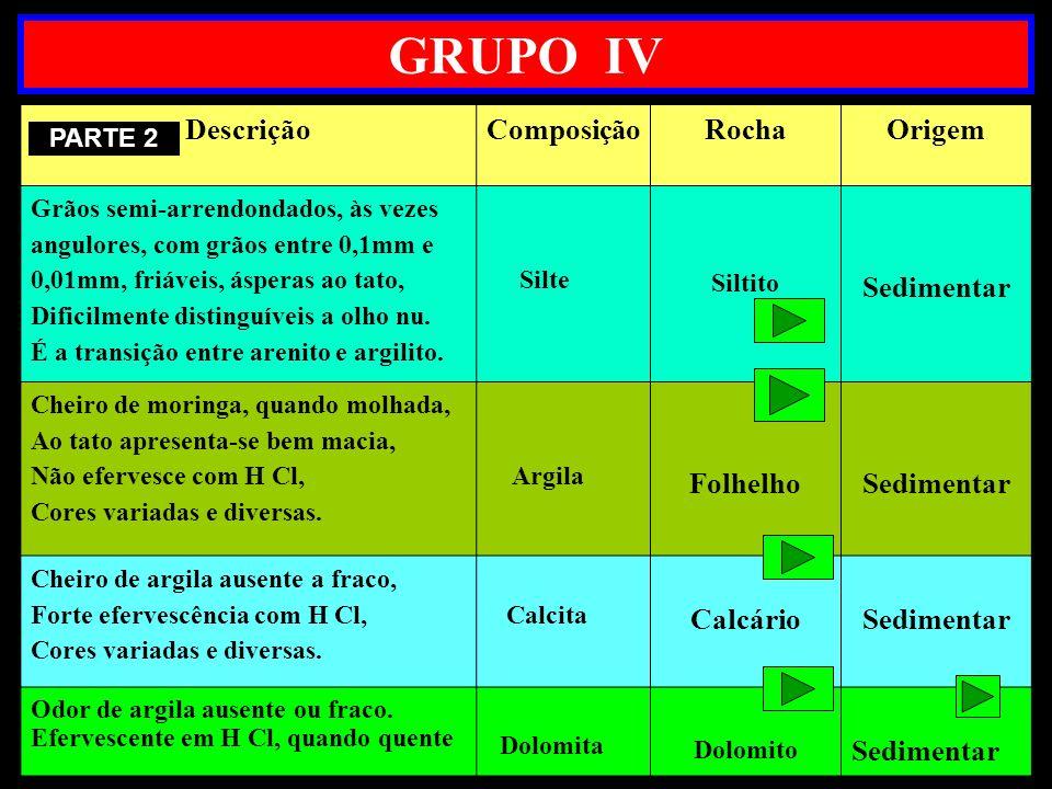 GRUPO IV Descrição Composição Rocha Origem Sedimentar Folhelho