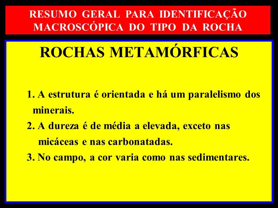 RESUMO GERAL PARA IDENTIFICAÇÃO MACROSCÓPICA DO TIPO DA ROCHA