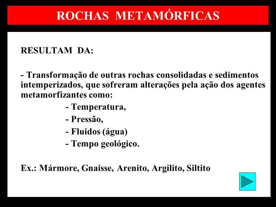 ROCHAS METAMÓRFICAS RESULTAM DA: