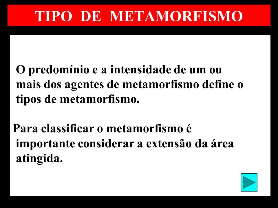 TIPO DE METAMORFISMO mais dos agentes de metamorfismo define o