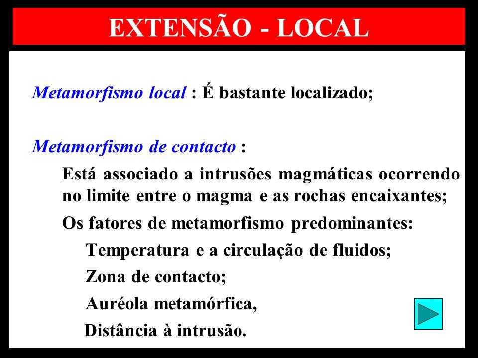 EXTENSÃO - LOCAL Metamorfismo local : É bastante localizado;