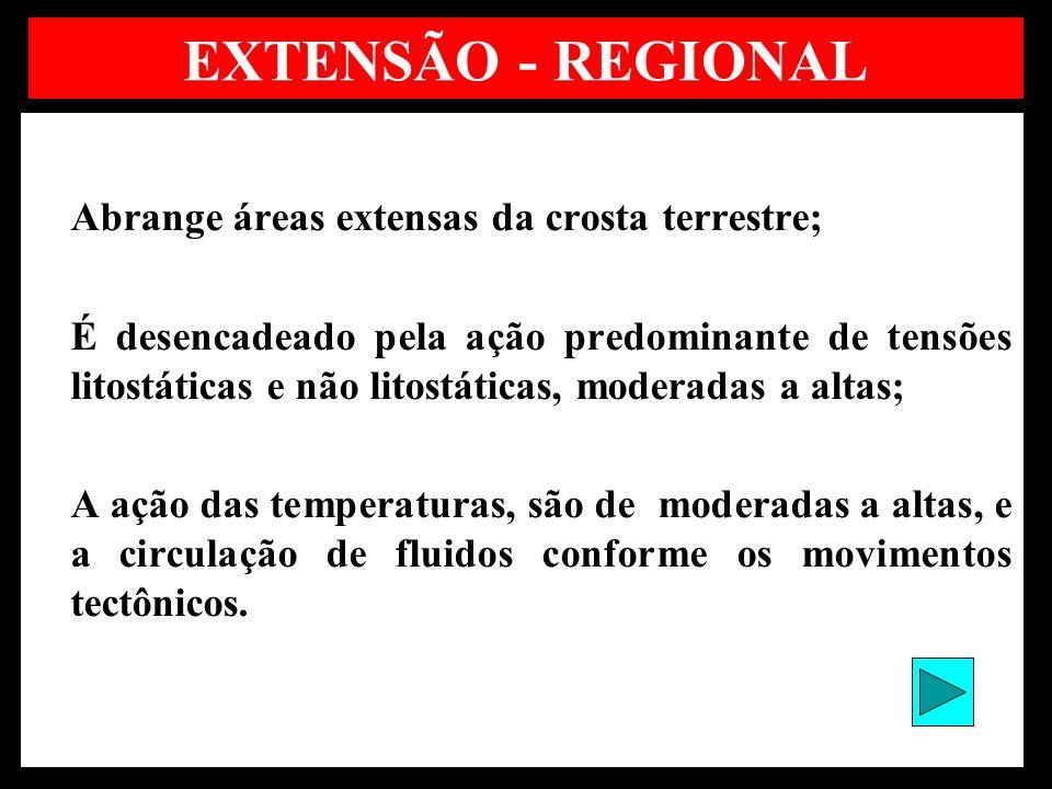 EXTENSÃO - REGIONAL Abrange áreas extensas da crosta terrestre;