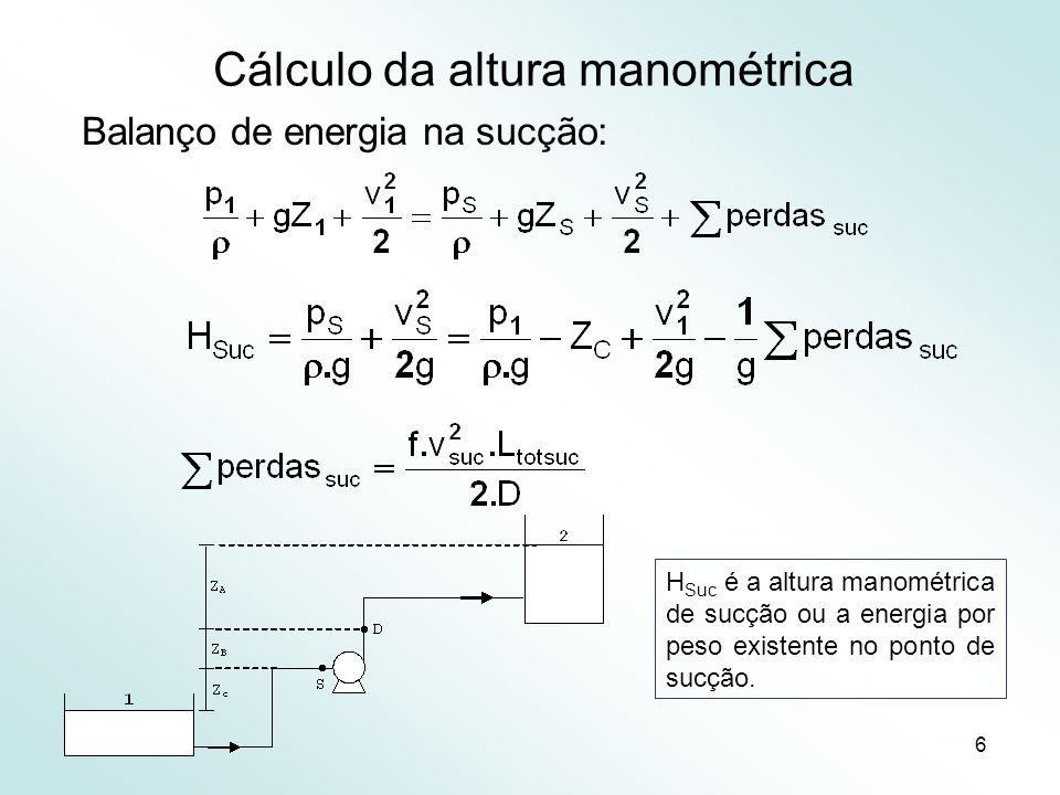 Cálculo da altura manométrica