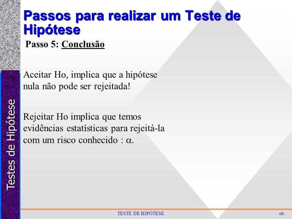 Passos para realizar um Teste de Hipótese