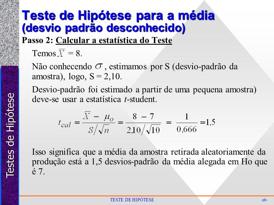 Teste de Hipótese para a média (desvio padrão desconhecido)