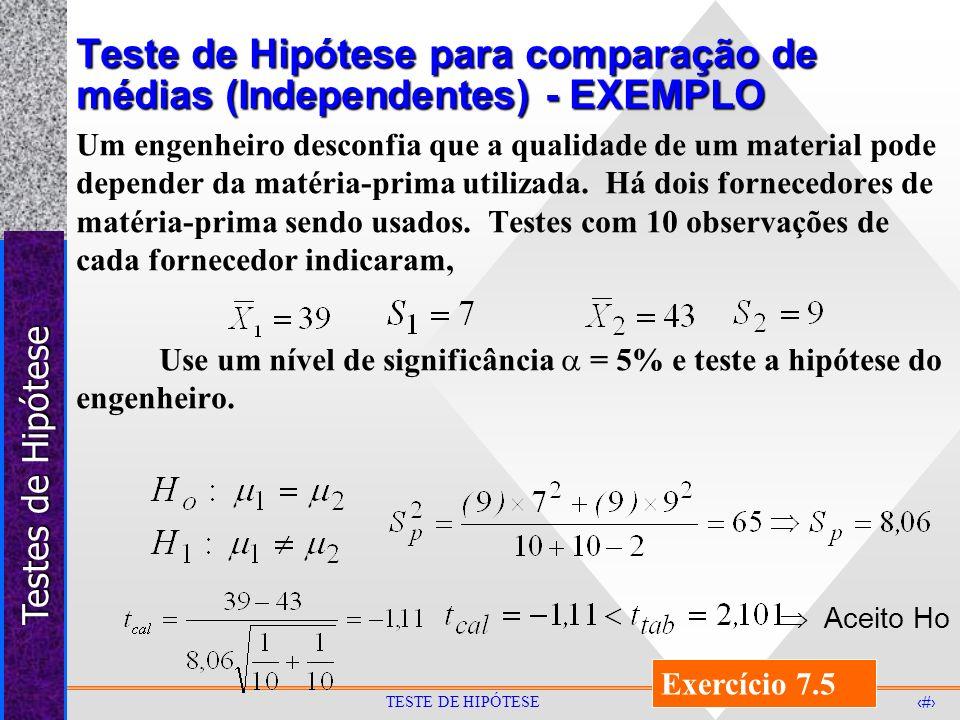 Teste de Hipótese para comparação de médias (Independentes) - EXEMPLO