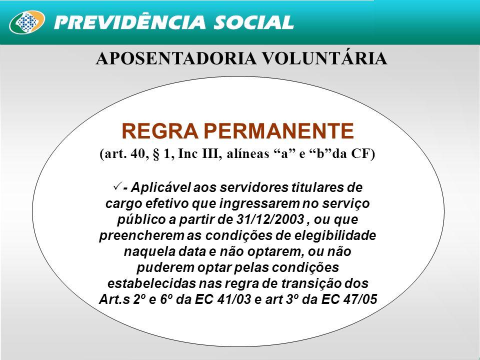 REGRA PERMANENTE APOSENTADORIA VOLUNTÁRIA