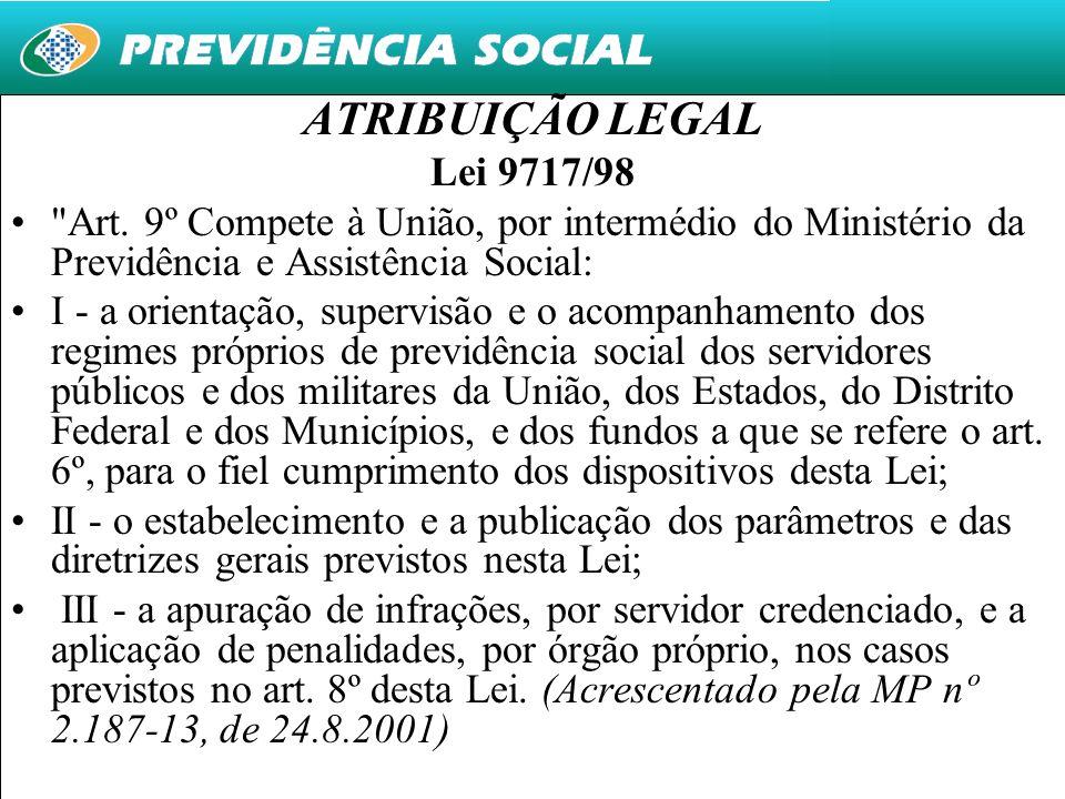 ATRIBUIÇÃO LEGAL Lei 9717/98. Art. 9º Compete à União, por intermédio do Ministério da Previdência e Assistência Social: