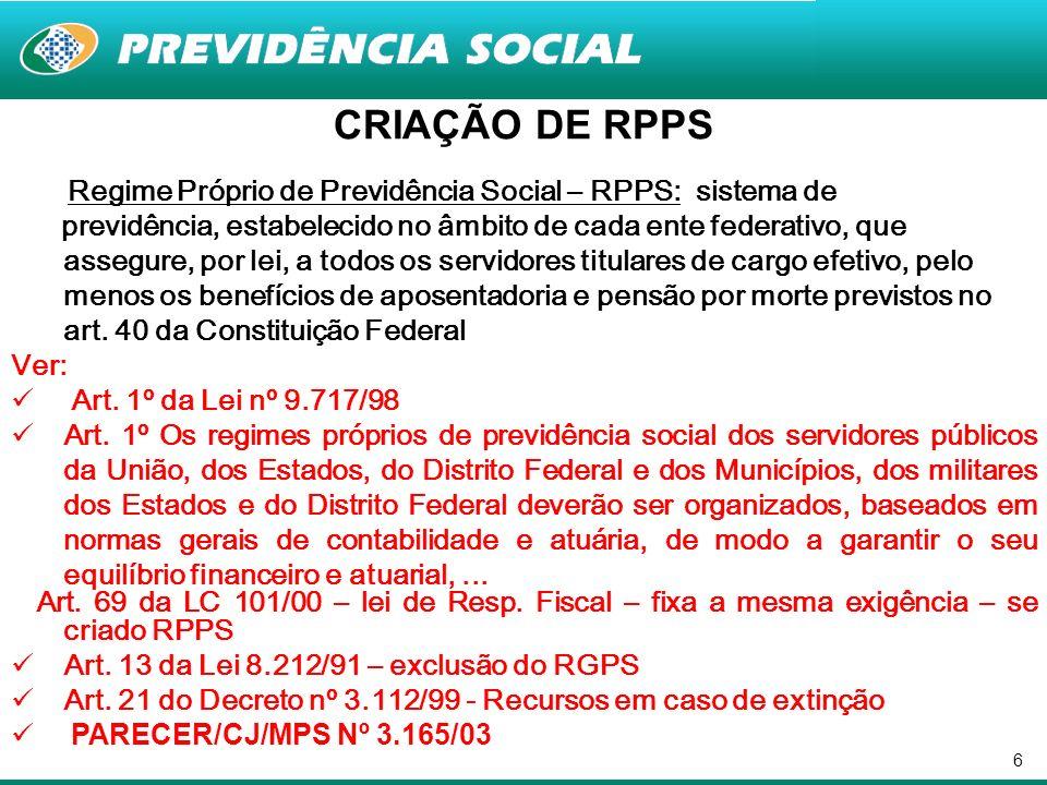 CRIAÇÃO DE RPPS Regime Próprio de Previdência Social – RPPS: sistema de.