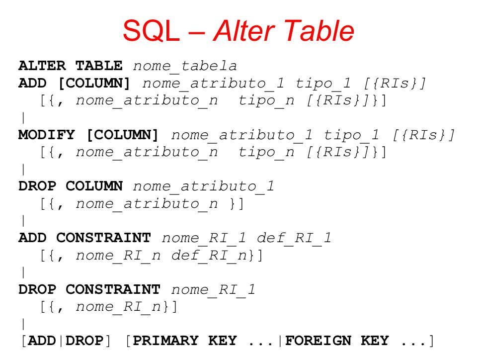 Sql structured query language ppt carregar - Alter table add column not null ...