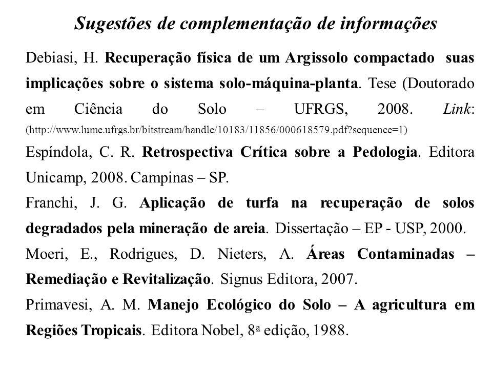 Sugestões de complementação de informações