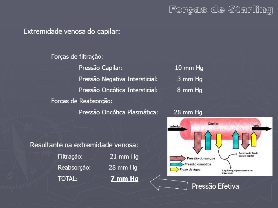 Forças de Starling Extremidade venosa do capilar: Forças de filtração: