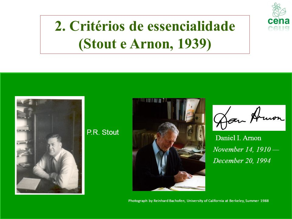 2. Critérios de essencialidade (Stout e Arnon, 1939)