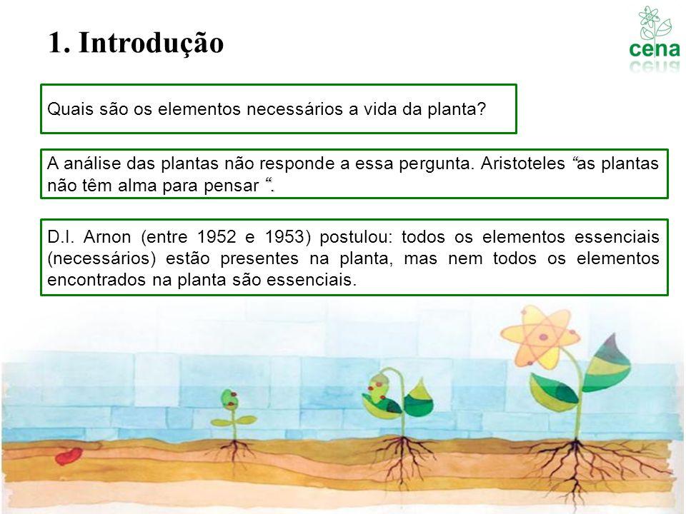 1. Introdução Quais são os elementos necessários a vida da planta