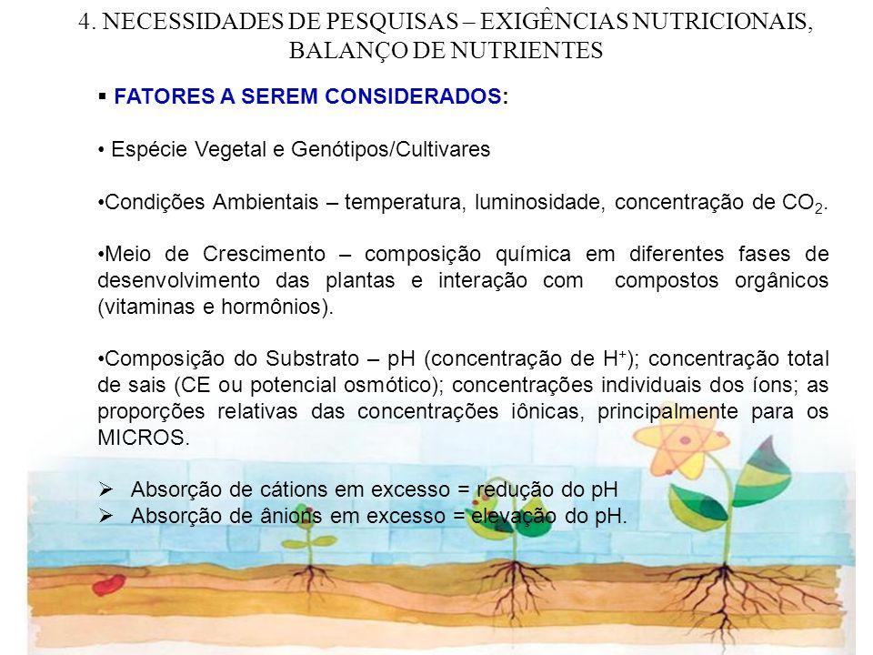 4. NECESSIDADES DE PESQUISAS – EXIGÊNCIAS NUTRICIONAIS, BALANÇO DE NUTRIENTES
