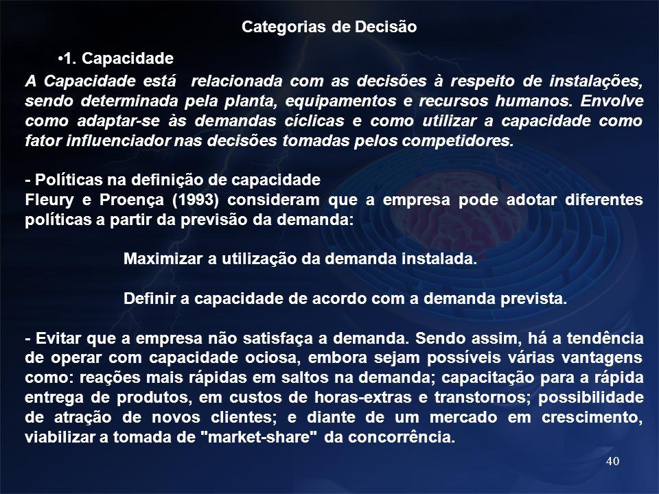 Categorias de Decisão 1. Capacidade.