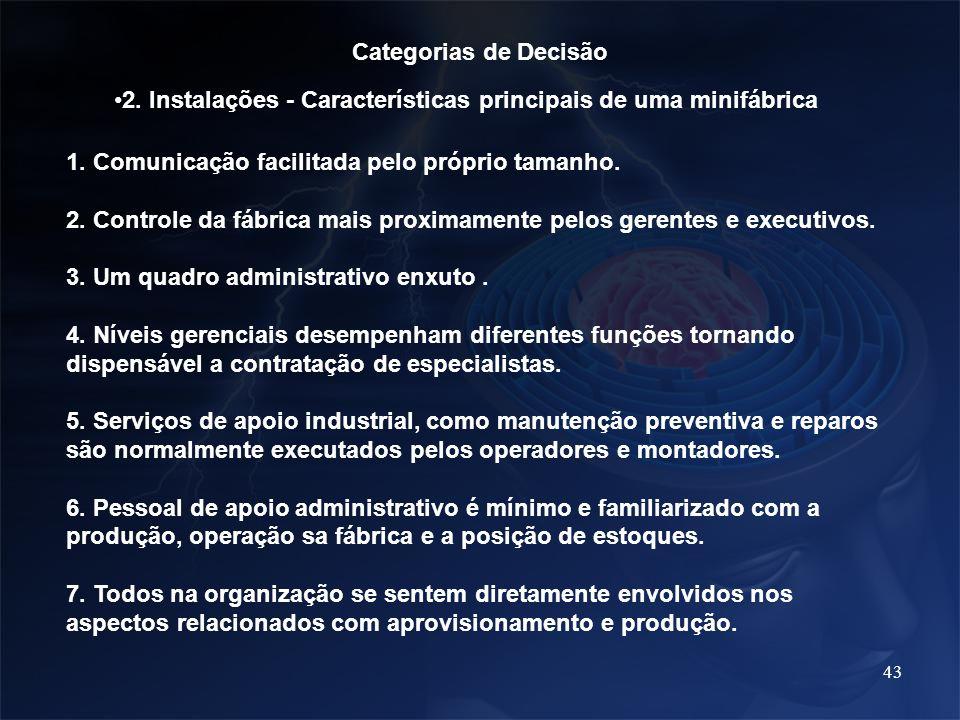 Categorias de Decisão 2. Instalações - Características principais de uma minifábrica. 1. Comunicação facilitada pelo próprio tamanho.