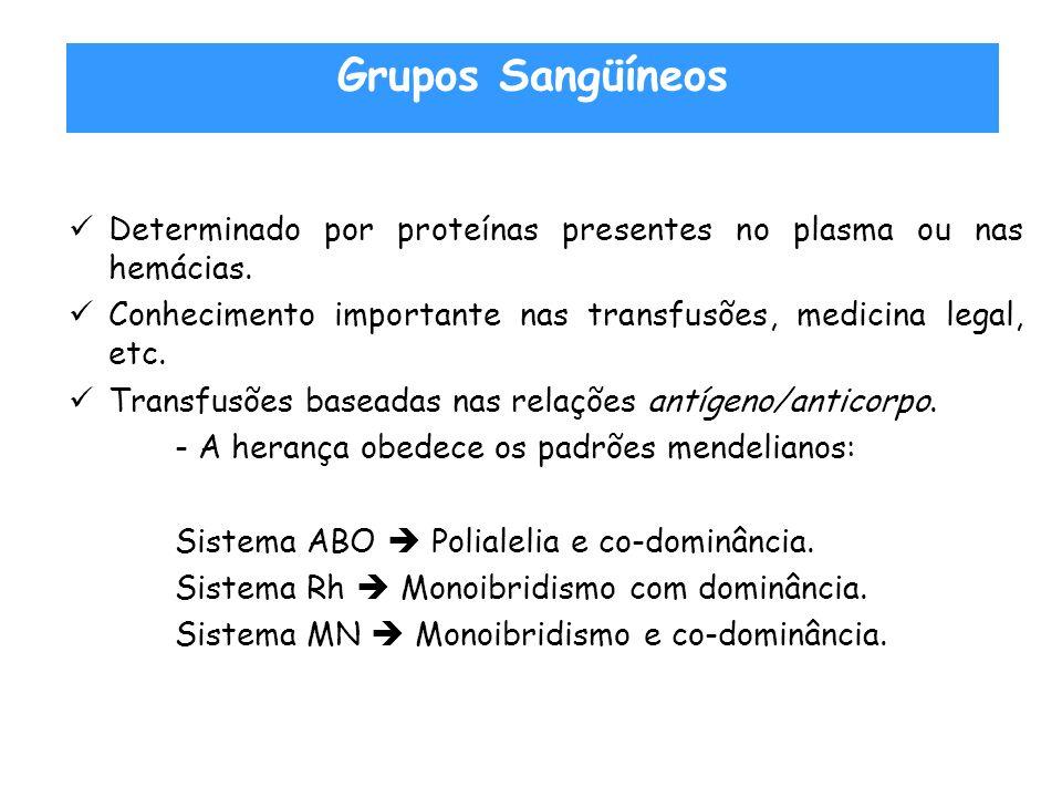 Grupos Sangüíneos Determinado por proteínas presentes no plasma ou nas hemácias. Conhecimento importante nas transfusões, medicina legal, etc.