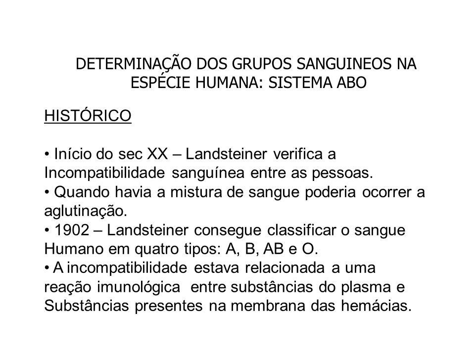 DETERMINAÇÃO DOS GRUPOS SANGUINEOS NA ESPÉCIE HUMANA: SISTEMA ABO