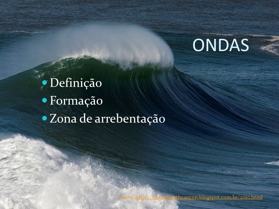 ONDAS Definição Formação Zona de arrebentação