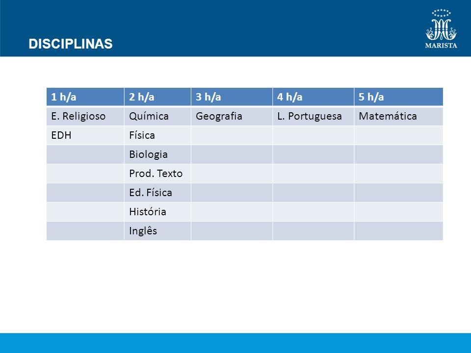 DISCIPLINAS 1 h/a 2 h/a 3 h/a 4 h/a 5 h/a E. Religioso Química