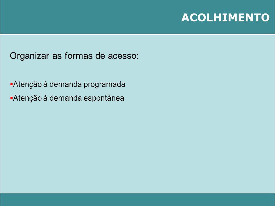 ACOLHIMENTO Organizar as formas de acesso: