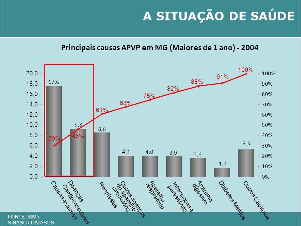 A SITUAÇÃO DE SAÚDE 17,6. 0% 10% 20% 30% 40% 50% 60% 70% 80% 90% 100% 0,0. 2,0. 4,0. 6,0.