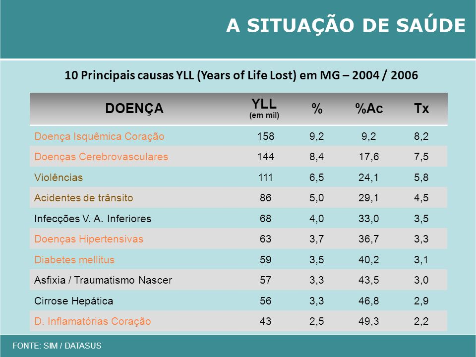 10 Principais causas YLL (Years of Life Lost) em MG – 2004 / 2006