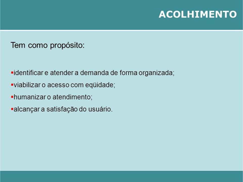 ACOLHIMENTO Tem como propósito: