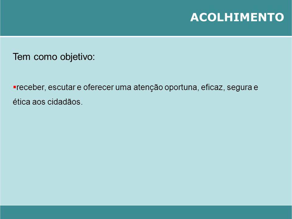 ACOLHIMENTO Tem como objetivo: