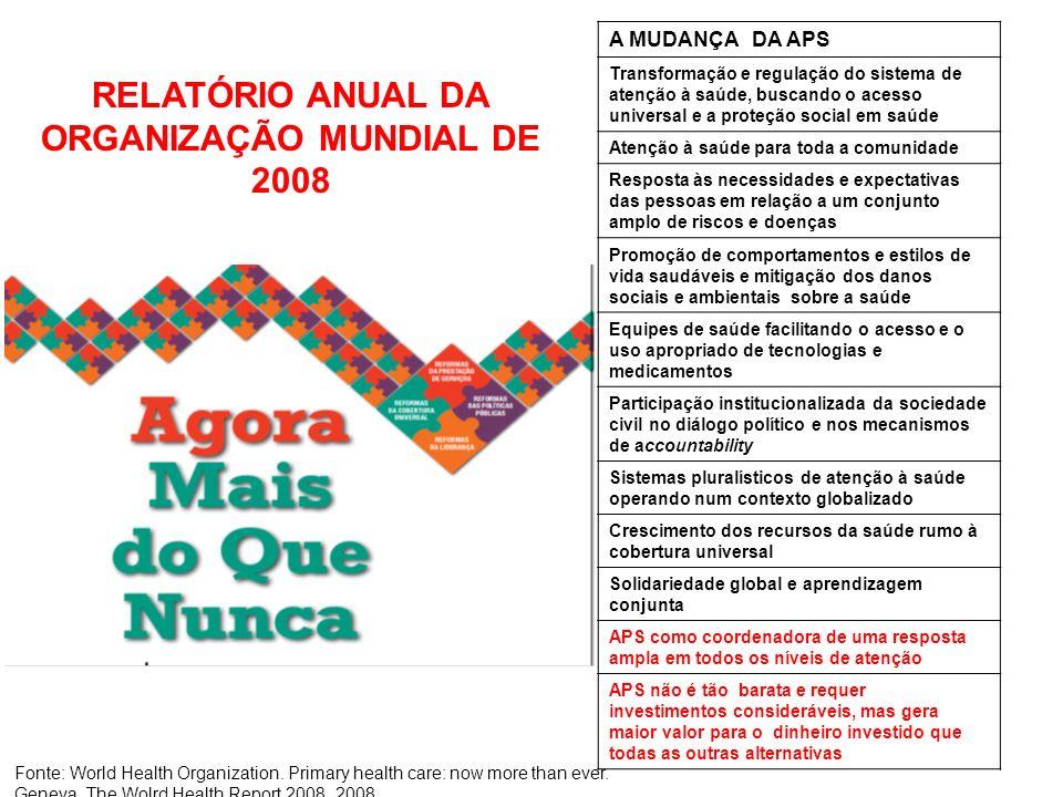 RELATÓRIO ANUAL DA ORGANIZAÇÃO MUNDIAL DE 2008