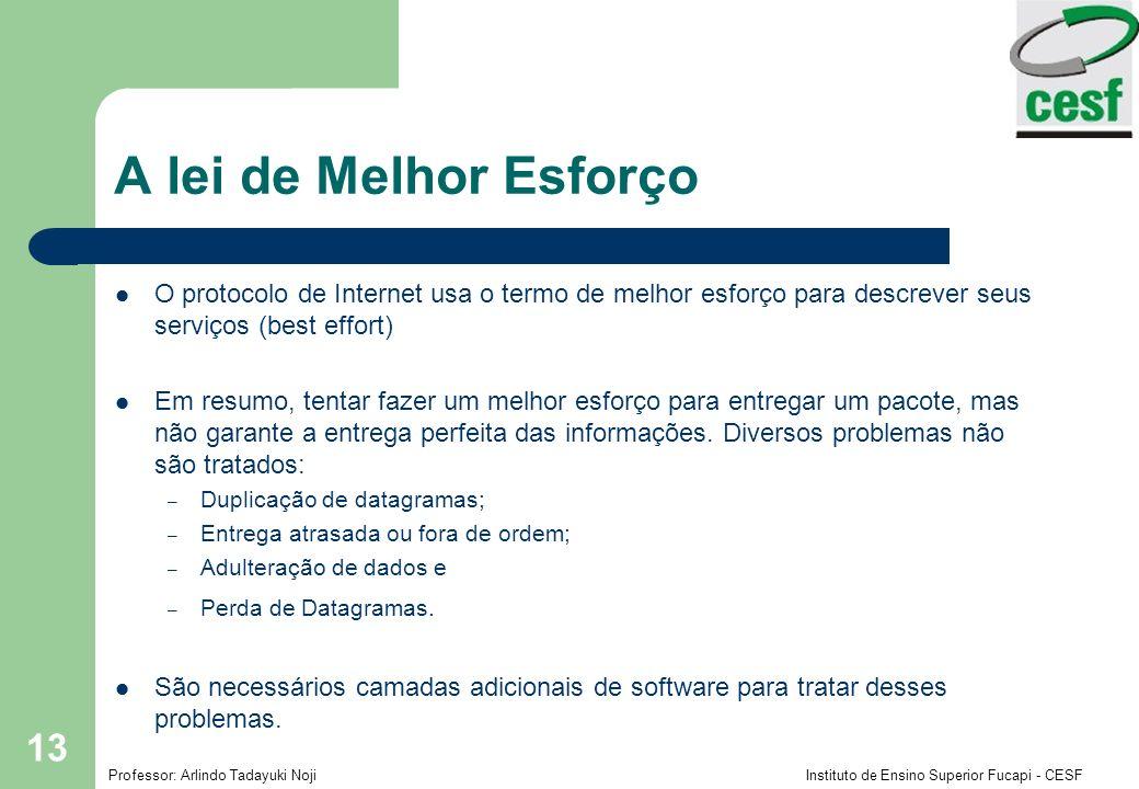 A lei de Melhor Esforço O protocolo de Internet usa o termo de melhor esforço para descrever seus serviços (best effort)