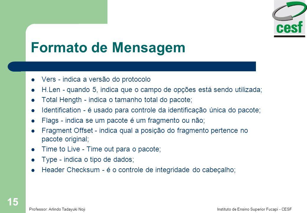 Formato de Mensagem Vers - indica a versão do protocolo
