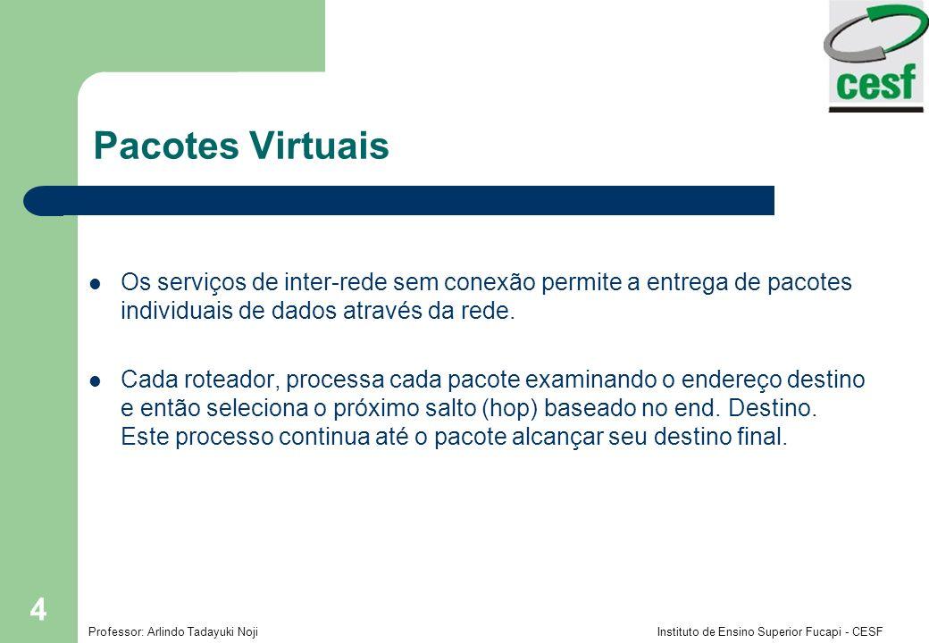 Pacotes Virtuais Os serviços de inter-rede sem conexão permite a entrega de pacotes individuais de dados através da rede.