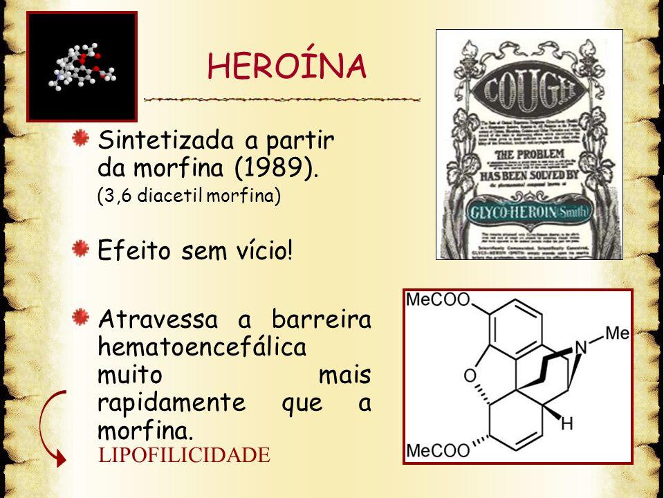 HEROÍNA Sintetizada a partir da morfina (1989). Efeito sem vício!