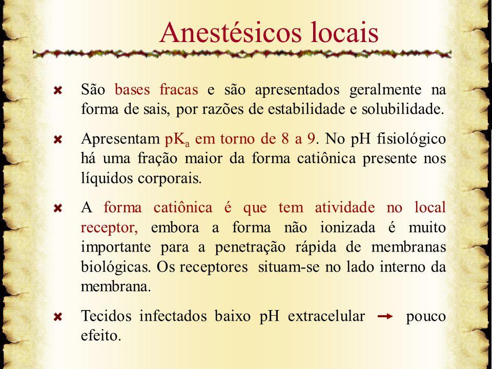 Anestésicos locaisSão bases fracas e são apresentados geralmente na forma de sais, por razões de estabilidade e solubilidade.