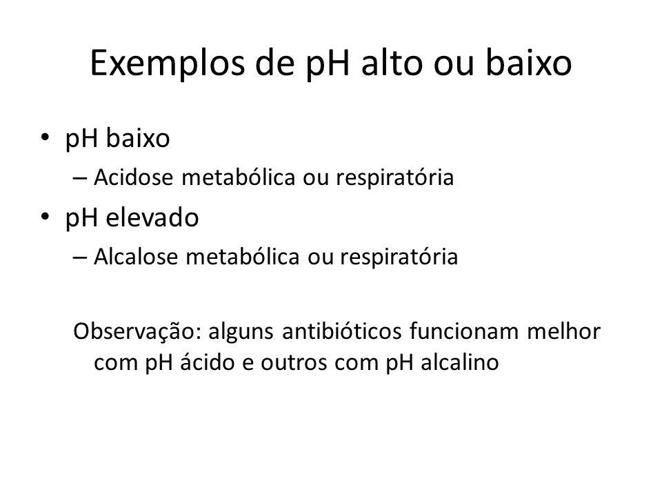 Exemplos de pH alto ou baixo