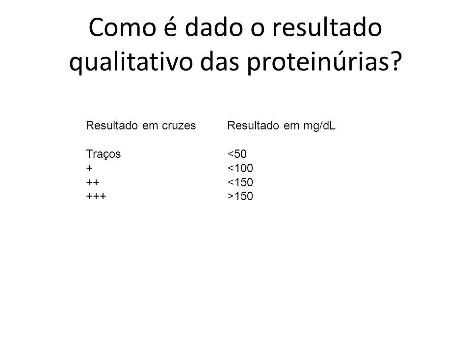 Como é dado o resultado qualitativo das proteinúrias